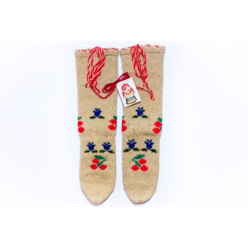 Knitted socks 2 - 100 % - wool - with embroidery - acrylic