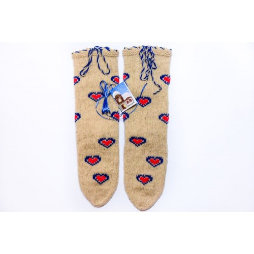 Knitted socks 3 - 100 % - wool - with embroidery - acrylic