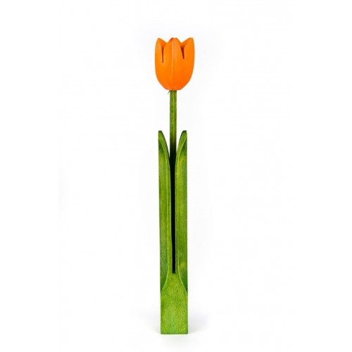Bloomed wooden Tulip – colour - orange – handmade – water resistant paint