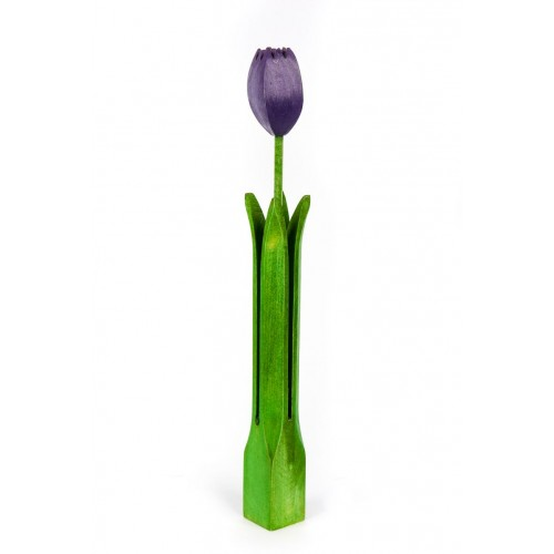 Wooden Tulip with flower bud – colour - violet – handmade – water resistant paint