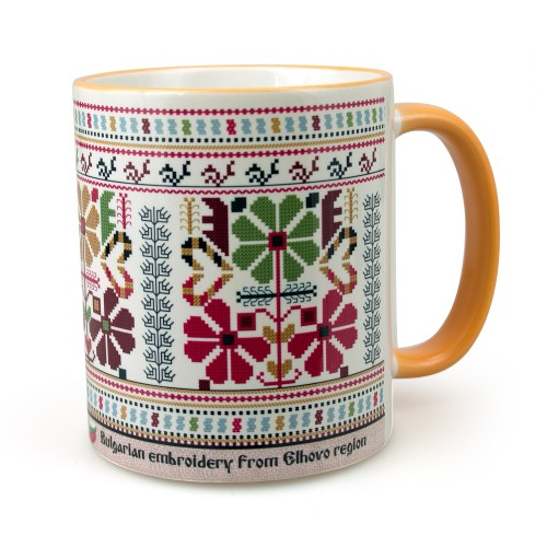 A mug with an embroidery from the Elhovo