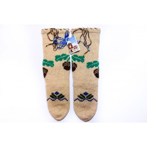 Knitted socks - 100 % - wool - with embroidery - acrylic