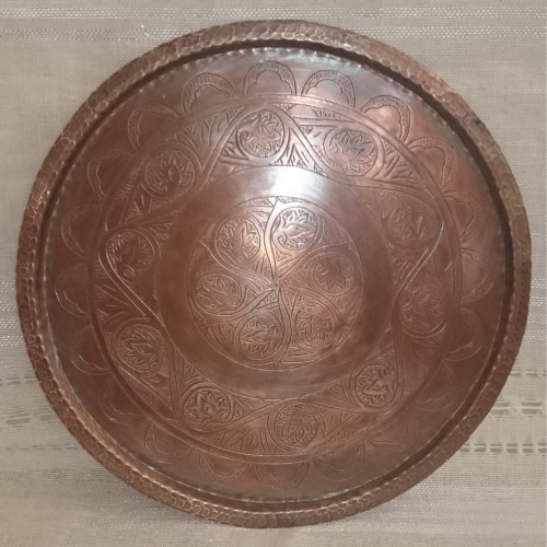 Copper hand-engraved tray 29 cm